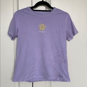 Life is good lilac flower relaxed tee